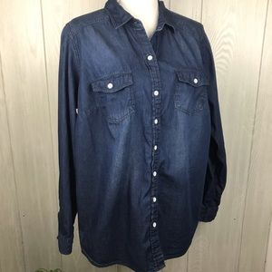 Torrid cotton denim look button down shirt